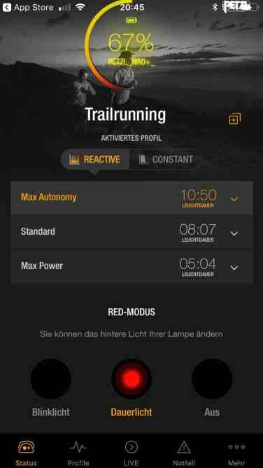 Petzl Nao+ App_Profile Trailrunning 07