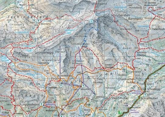 Kartenausschnitt A6 254T Grindelwald First