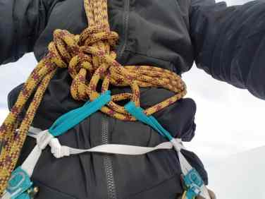 Anseilen mit Seilverkürzung - immer beide Schlaufen verwenden