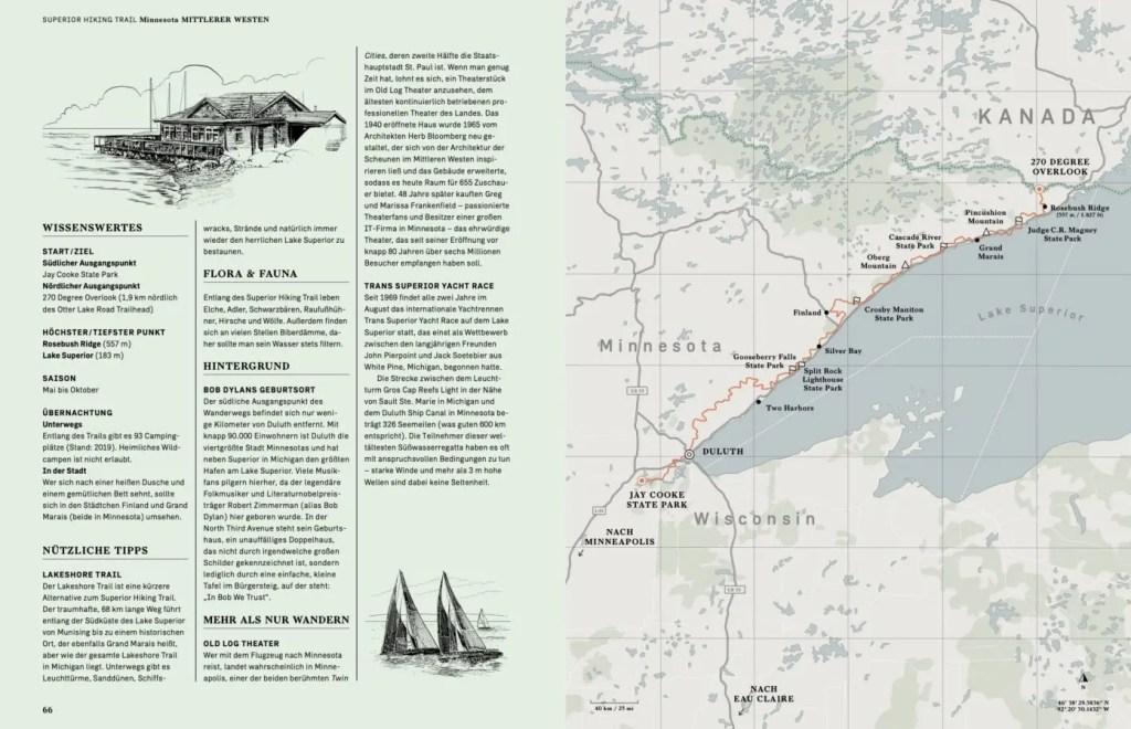Fakten und Landkarte im Buch Wanderlust USA – Die schönsten Wanderwege der USA