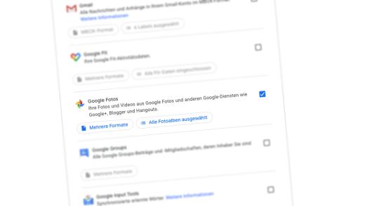 Auswahl von Google Photos bei Google Takeout