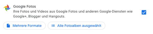 Auswahl von Google-Fotos bei Google Takeout