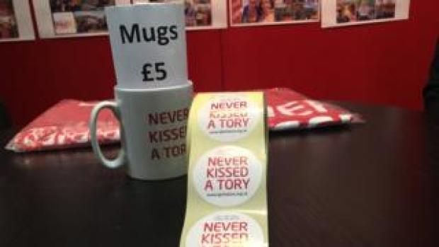 Stickers and mugs on sale at Labour conference