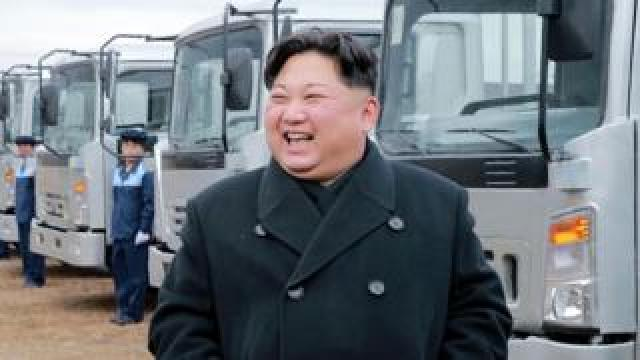 North Korean leader Kim Jong-un at the Sungri Motor Complex in South Pyongan Province, 21 November 2017