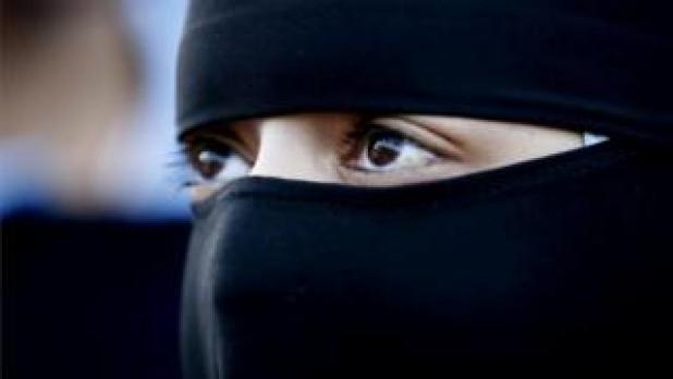 Generic close-up shot of a Muslim woman wearing a niqab.