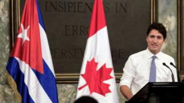 Canadian Prime Minister Justin Trudeau speaking at Havana University in the Cuban capital (16/11/2016 ).