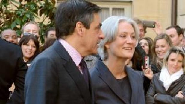 François Fillon and his wife Penelope in 2012 at the Hotel Matignon in Paris