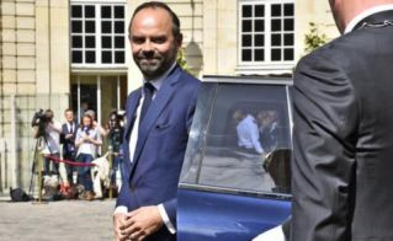 Edouard Philippe arrives at the Hotel de Matignon (15 May)
