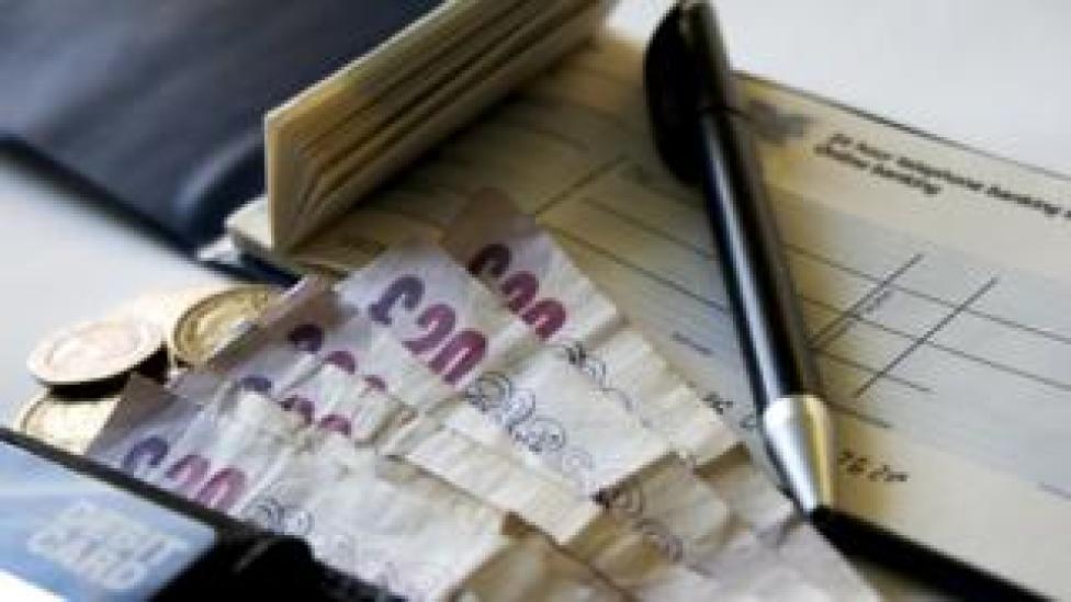 chequebook and cash