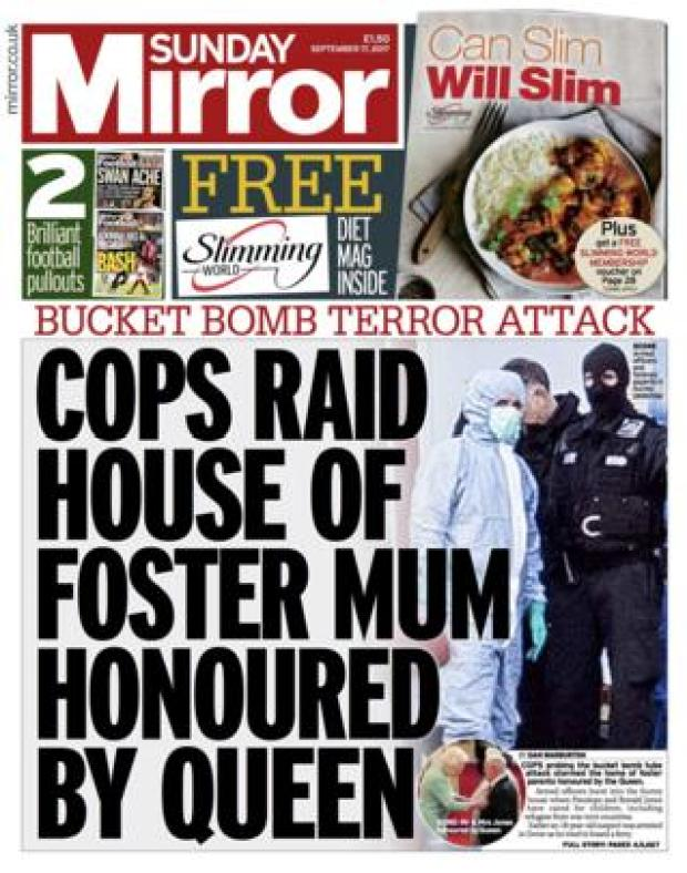 The Sunday Mirror front page 17/09/2017
