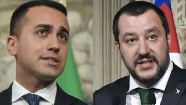 M5S leader Luigi Di Maio (L) and Lega leader Matteo Salvini
