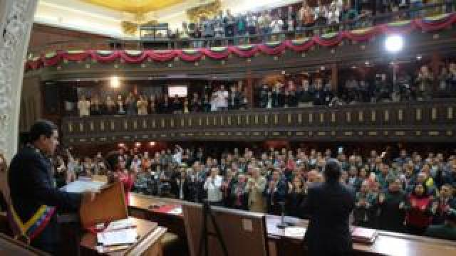 Photo from the Miraflores Palace shows President Nicolas Maduro (L) addressing the National Constituent Assembly in Caracas on 10 August 2017