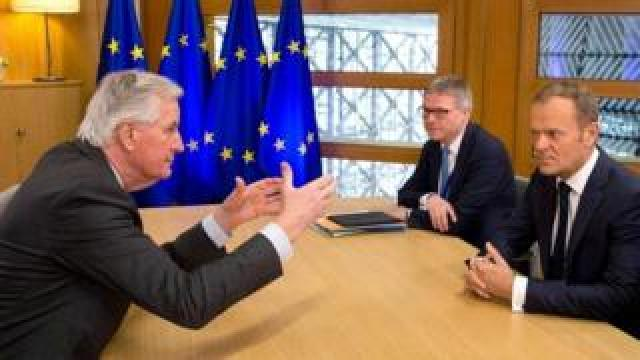 Michel Barnier during a recent meeting with European Council president Donald Tusk