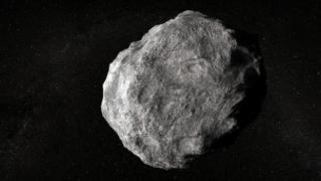 An illustration of a grey/white asteroid on a starfield