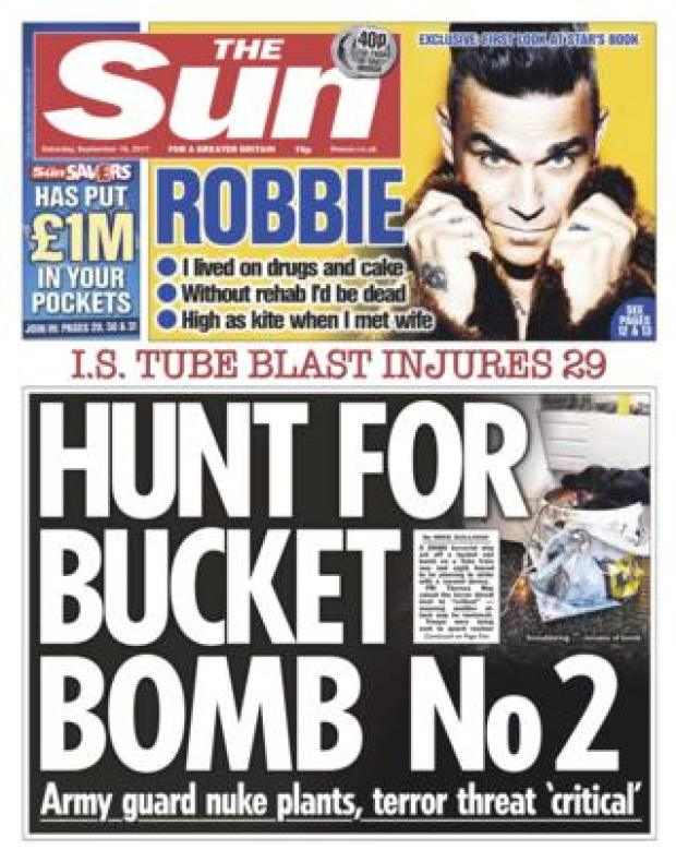 The Sun front page 16/09/2017