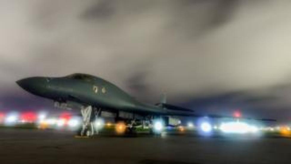 A US.Air Force B-1B Lancer bomber sits on the runway at Andersen Air Force Base, Guam July 18, 2017