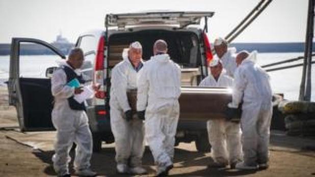 Coffins of dead migrants in Salerno, 5 Nov 17