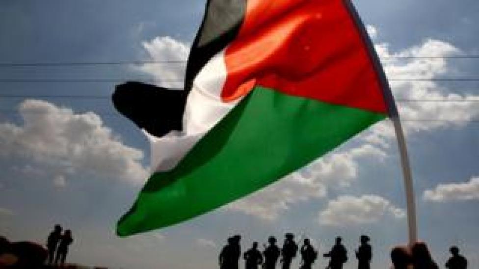 Una bandera palestina ondea el la villa de Tamún, cerca de Naplusa