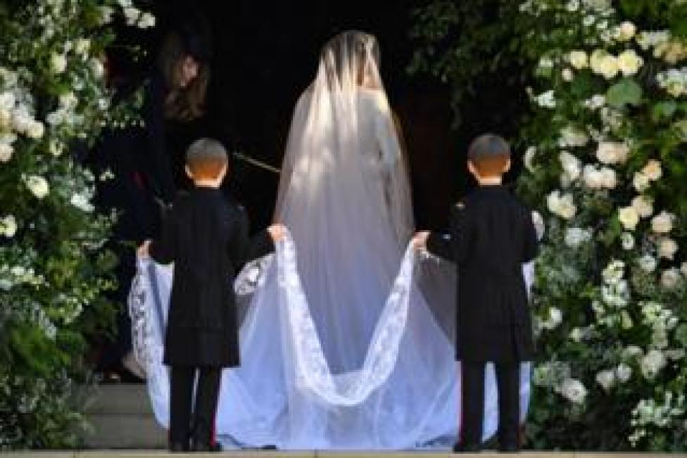 """Meghan Markle arrives for the wedding ceremony to marry Prince Harry at St George""""s Chapel, Windsor Castle"""