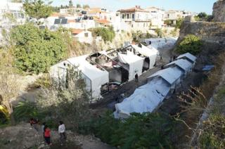 Image result for Chios island camp in Greece attacked