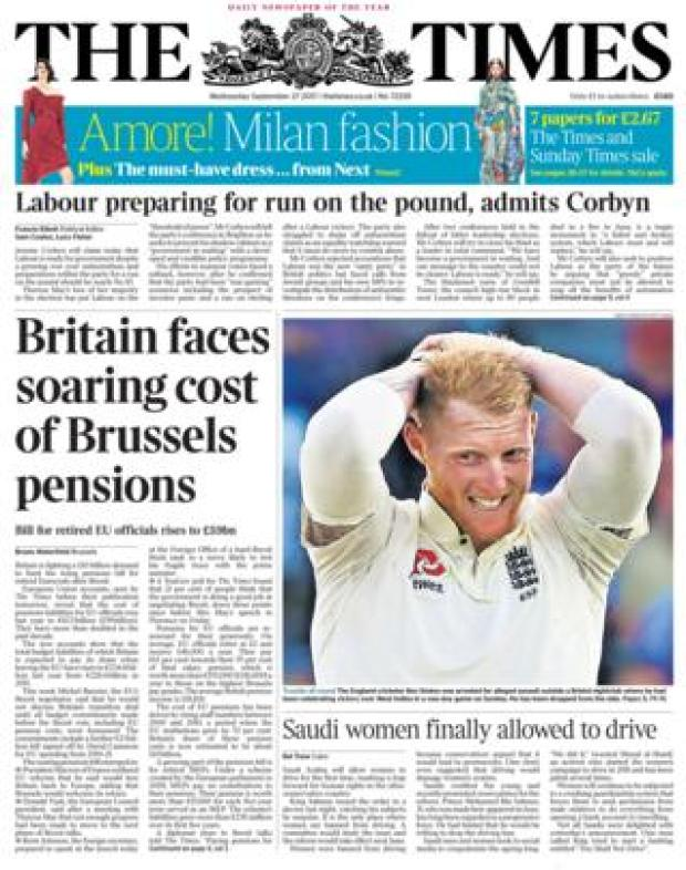 The Times front - 27/9/17