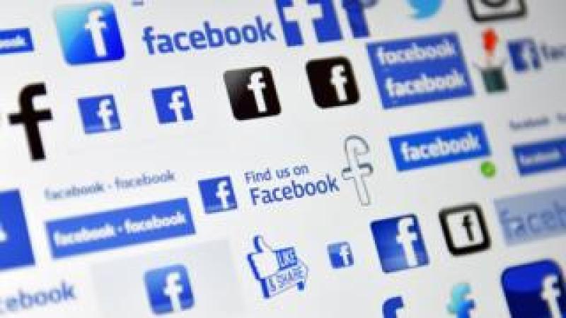 Facebook logos on a screen