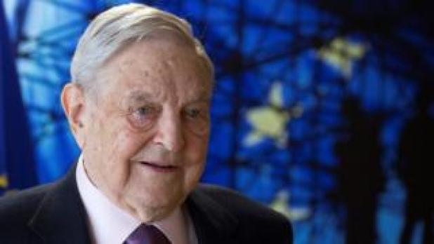 US financier-cum-philanthropist George Soros, Founder and Chairman of the Open Society Foundations, arriving for a meeting in Brussels in April 2017