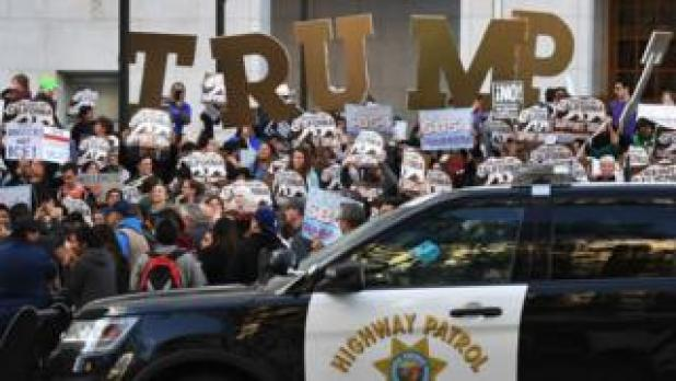 An anti-immigration enforcement demonstration in Los Angeles, California, in late March