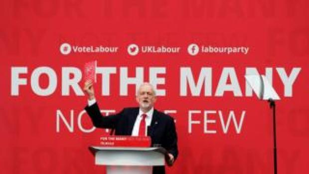 Jeremy Corbyn at the launch of the 2017 Labour manifesto
