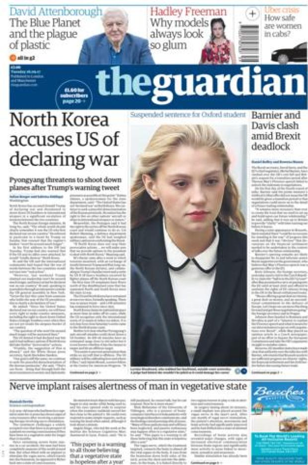 Guardian front - 26/9/17