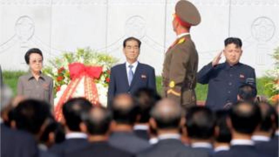 North Korean leader Kim Jong-un (R) salutes as a honour guard march past him and his aunt Kim Kyong-hui (L), in Pyongyang 25 July 2013,