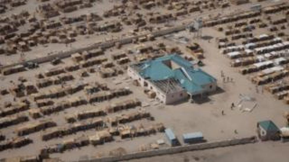 An aerial picture taken on February 14, 2017 at Monguno district of Borno State shows a camp for internally displaced people.