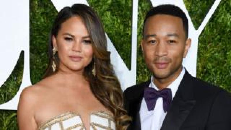 Chrissy Teigen and John Legend at the 2017 Tony Awards