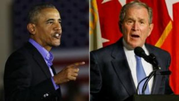 Former presidents Barack Obama (left) and George W Bush speak at different events on 19 October 2017