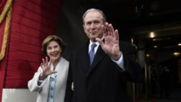 George W Bush and his wife at the Trump inauguration