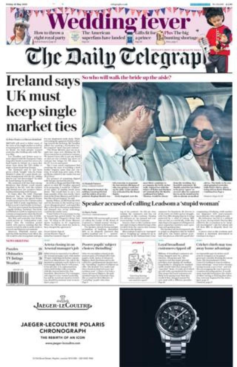 The Telegraph Friday front page