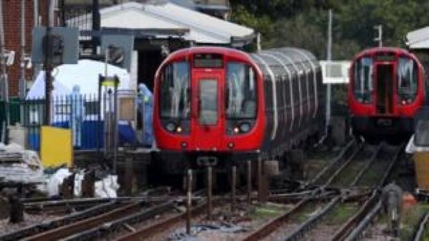 Tube train at Parsons Green