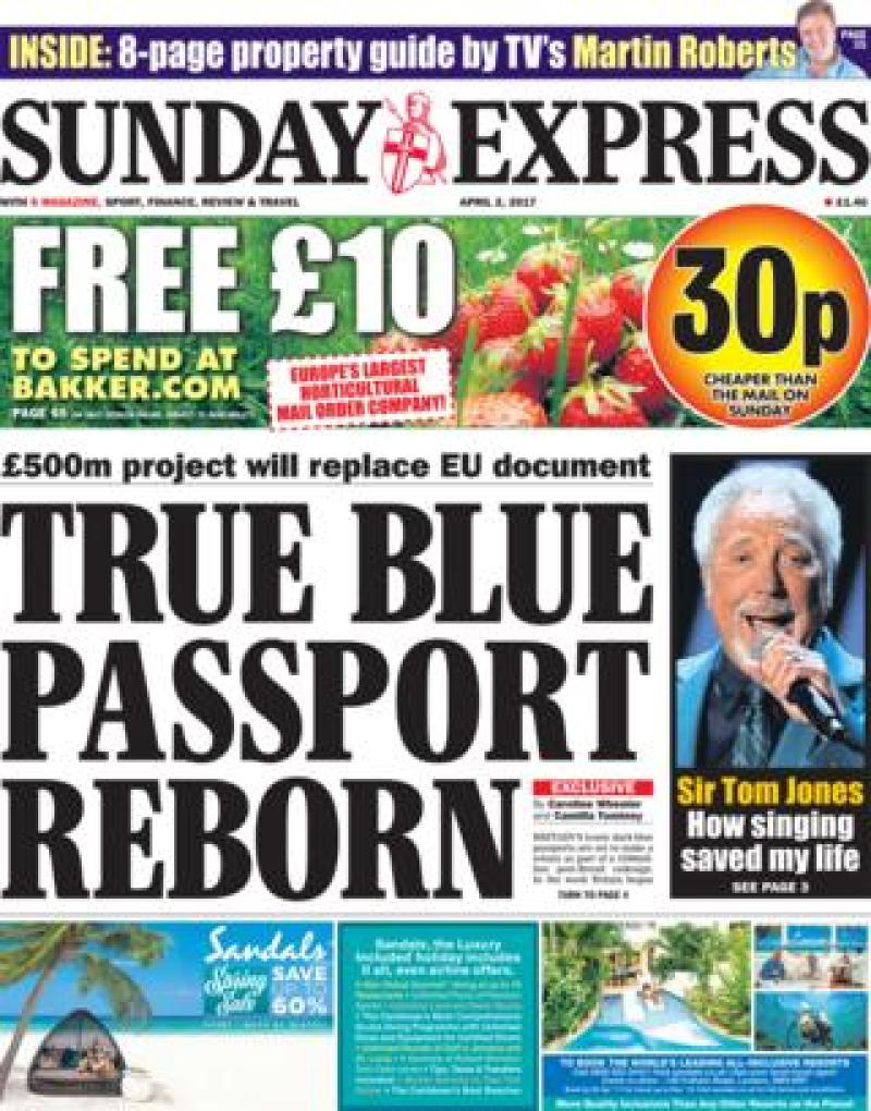 Sunday Express front - 02/04/17
