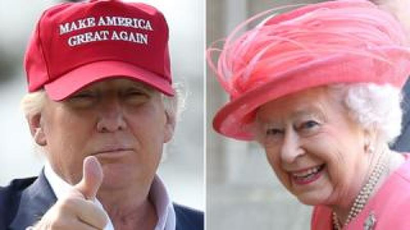 Two pictures of Donald Trump and the Queen