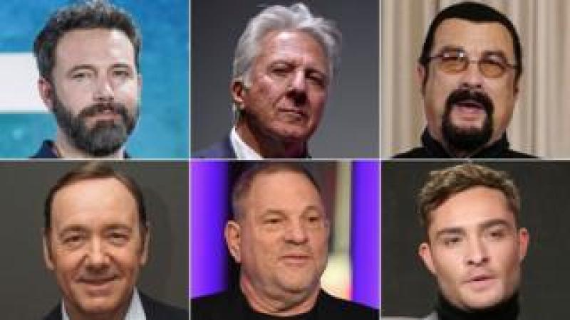Clockwise from top left: Ben Affleck, Dustin Hoffman, Steven Seagal, Ed Westwick, Harvey Weinstein, Kevin Spacey
