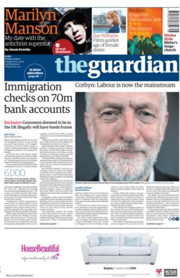 The Guardian front page 22/09/2017