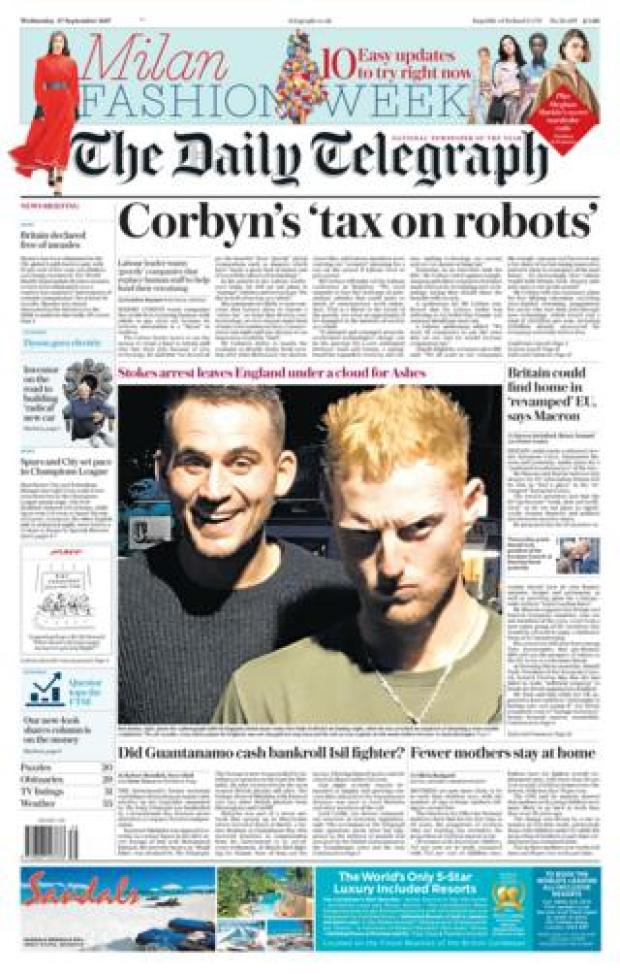 Daily Telegraph front - 27/9/17