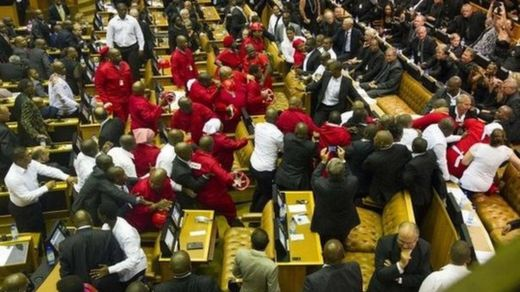 Members of the Economic Freedom Fighters (EFF) clash with security forces at SONA in 2015