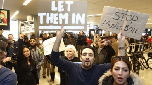 Protests continued at US airports throughout the week