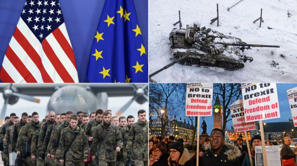 Clockwise from top left: A US and a EU flag side by side, a tank in east Ukraine, an anti-Brexit protest in the UK, German troops travelling for a Nato exercise