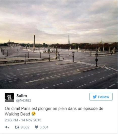 Tweet shows picture of empty streets of Paris