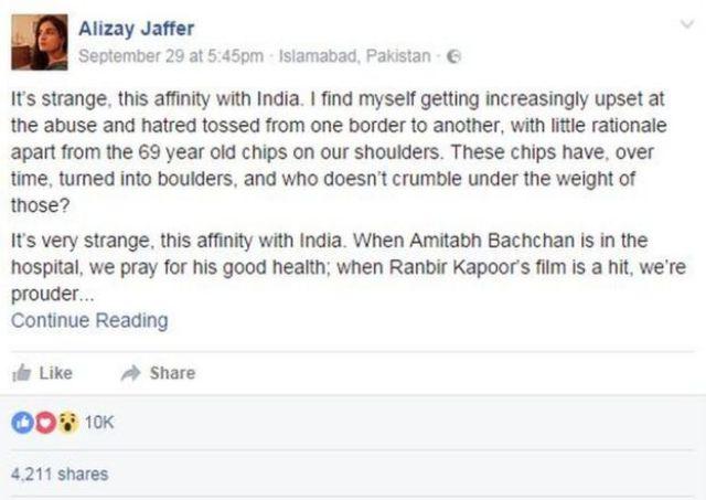 Alizay Jaffer Facebook post extract :