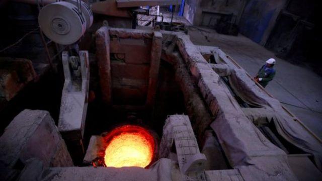 Uma fábrica de aço