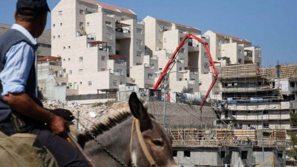 يرجل يركب حمارا داخل مستوطنة إسرائلية