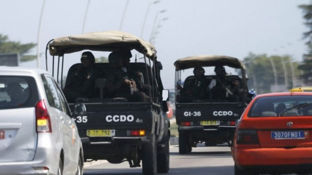 Security forces drive towards Grand-Bassam from Abidjan, Ivory Coast, 13 March